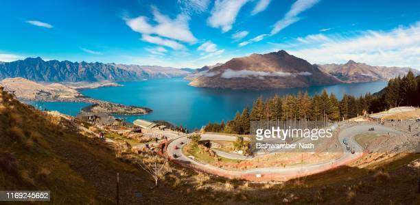 queenstown: panoramic view from skyline - luge stock pictures, royalty-free photos & images