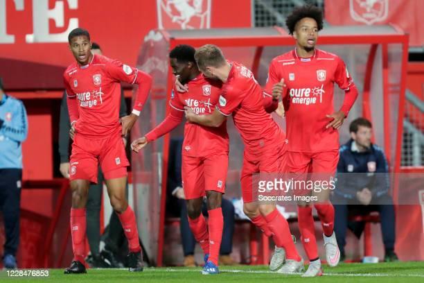 Queensy Menig of FC Twente celebrates 1-0 with Jayden Oosterwolde of FC Twente, Xandro Schenk of FC Twente during the Dutch Eredivisie match between...