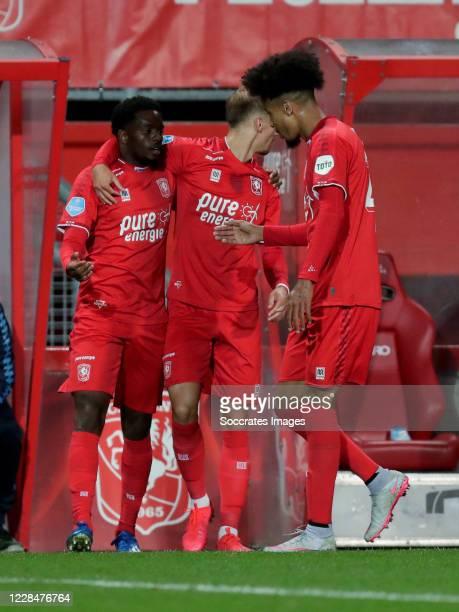 Queensy Menig of FC Twente celebrates 1-0 with Tyronne Ebuehi of FC Twente during the Dutch Eredivisie match between Fc Twente v Fortuna Sittard at...