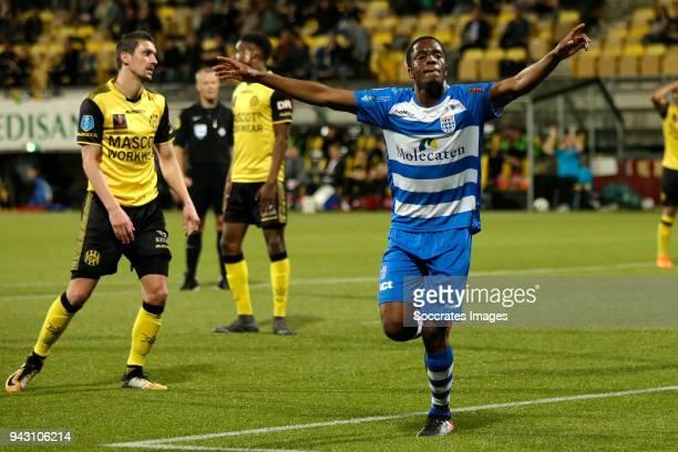 Queensy Menig of PEC Zwolle celebrates 2-2 during the Dutch Eredivisie match between Roda JC v PEC Zwolle at the Parkstad Limburg Stadium on April 7,...