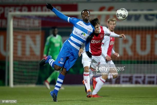 Queensy Menig of PEC Zwolle Nicolas Tagliafico of Ajax during the Dutch Eredivisie match between PEC Zwolle v Ajax at the MAC3PARK Stadium on...