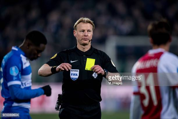 Queensy Menig of PEC Zwolle referee Kevin Blom Nicolas Tagliafico of Ajax during the Dutch Eredivisie match between PEC Zwolle and Ajax Amsterdam at...