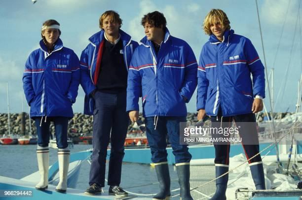 Quelquesuns des participants a la course a la voile La BauleDakar dont Florence Arthaud a gauche le 18 octobre 1983 a La Baule France