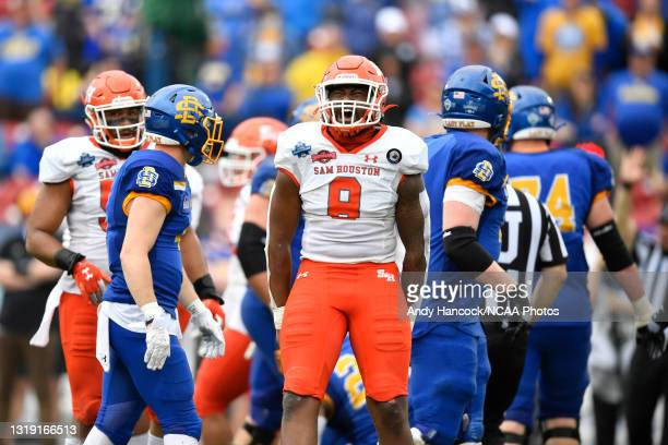 Quentin Brown of the Sam Houston State Bearkats reacts to a play against the South Dakota State Jackrabbits during the Division I FCS Football...