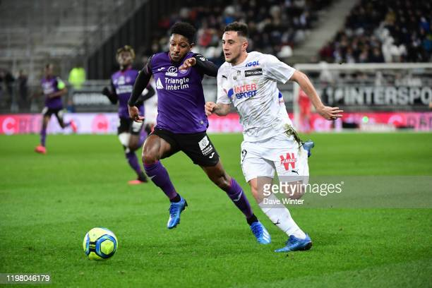 Quentin CORNETTE of Amiens and Sreven MOREIRA of Toulouse during the Ligue 1 match between Amiens and Toulouse at Stade de la Licorne on February 1,...