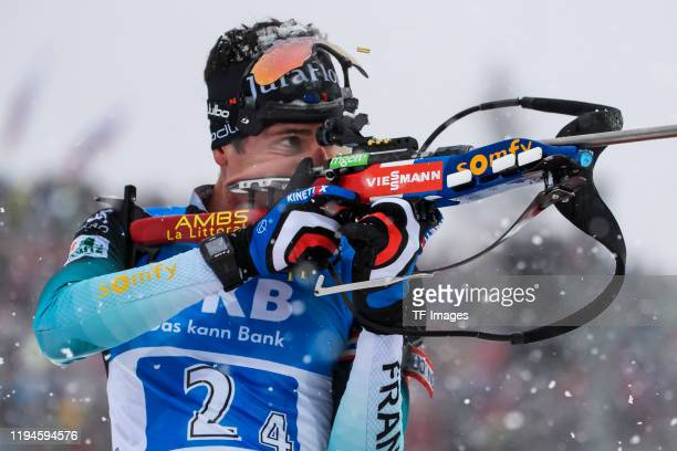 Quentin Fillon Maillet of France at the shooting range during the Men 4x7.5 km Relay Competition at the BMW IBU World Cup Biathlon Ruhpolding on...