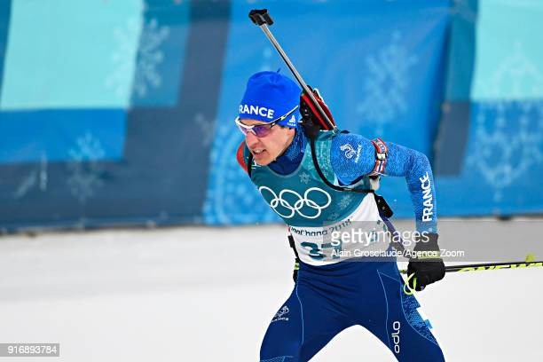 Quentin Fillon Maillet of France competes during the Biathlon Men's 10km Sprint at Alpensia Biathlon Centre on February 11 2018 in Pyeongchanggun...