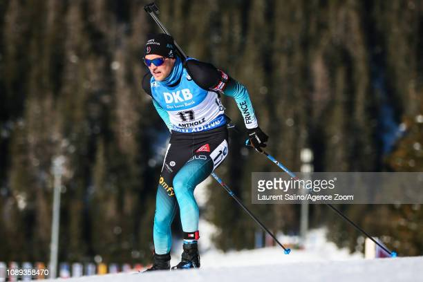 Quentin Fillon Maillet of France competes during the IBU Biathlon World Cup Men's Sprint on January 25 2019 in Antholz Anterselva Italy
