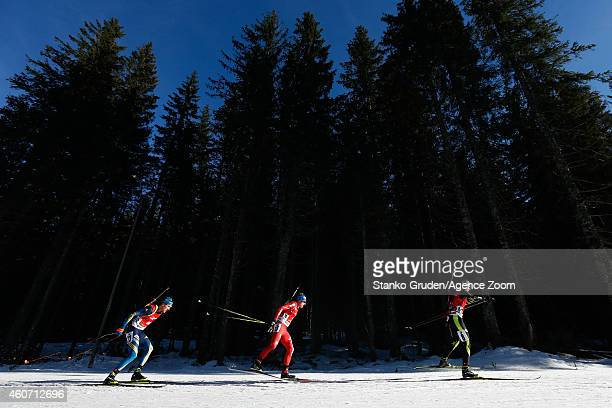 Quentin Fillon Maillet of France competes during the IBU Biathlon World Cup Men's and Women's Pursuit on December 20 2014 in Pokljuka Slovenia