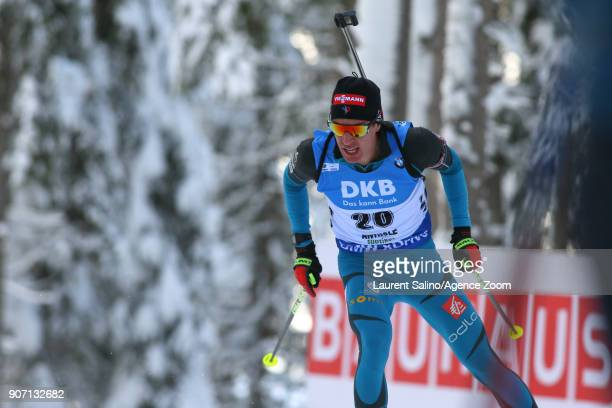 Quentin Fillon Maillet of France competes during the IBU Biathlon World Cup Men's Sprint on January 19 2018 in AntholzAnterselva Italy