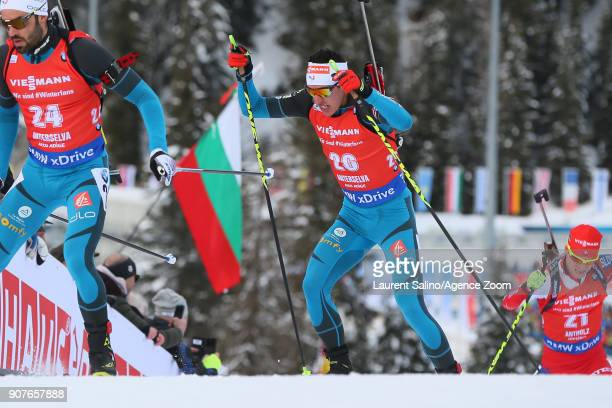 Quentin Fillon Maillet of France competes during the IBU Biathlon World Cup Men's and Women's Pursuit on January 20 2018 in AntholzAnterselva Italy