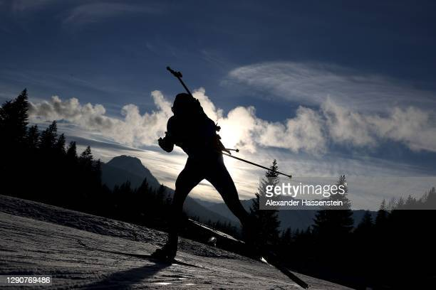 Quentin Fillon Maillet of France competes during the Men 10 km Sprint Competition at the BMW IBU World Cup Biathlon Hochfilzen at Biathlon Stadium...