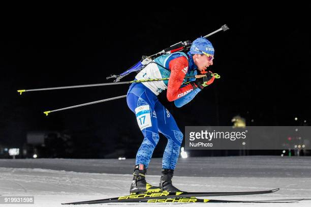 Quentin Fillon Maillet of  France competing in 15 km mass start biathlon at Alpensia Biathlon Centre Pyeongchang South Korea on February 18 2018