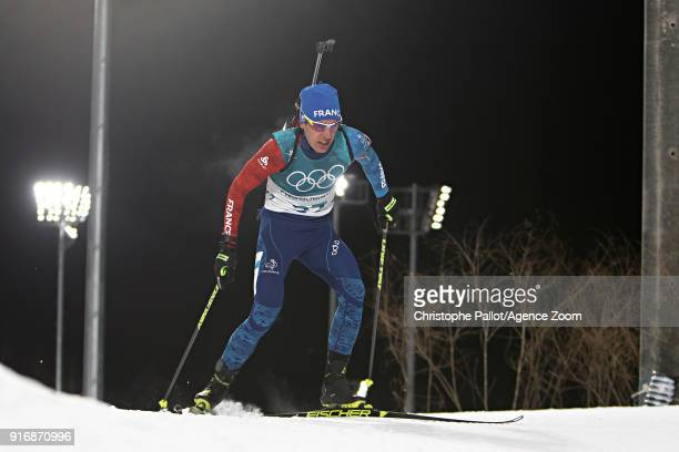 Quentin Fillon Maillet of France in action during the Biathlon Men's 10km Sprint at Alpensia Biathlon Centre on February 11 2018 in Pyeongchanggun...