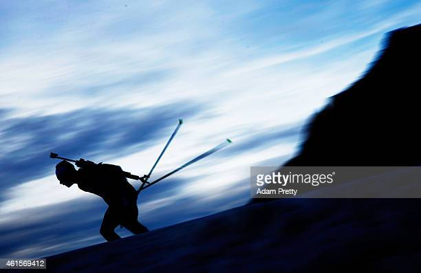 Quentin Fillon Maillet of France in action during the IBU Biathlon World Cup Men's Relay on January 15 2015 in Ruhpolding Germany