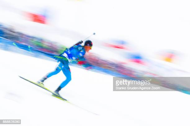 Quentin Fillon Maillet of France in action during the IBU Biathlon World Cup Men's and Women's Pursuit on December 9 2017 in Hochfilzen Austria