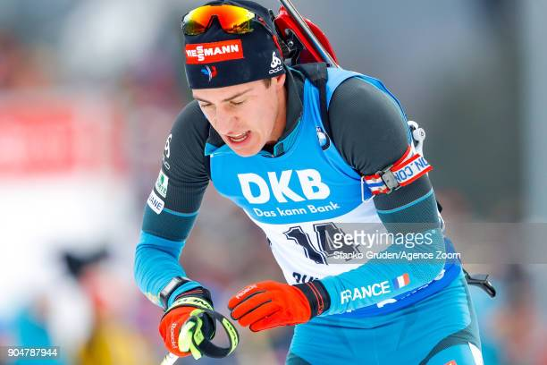 Quentin Fillon Maillet of France in action during the IBU Biathlon World Cup Men's and Women's Mass Start on January 14 2018 in Ruhpolding Germany