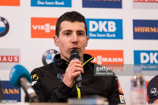 Quentin Fillon Maillet of France speaks to the media during a press conference during the second day of training during the IBU Biathlon World Cup on...