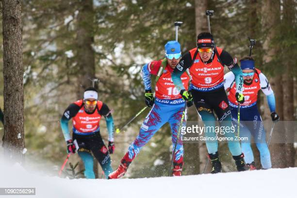 Quentin Fillon Maillet of France takes 1st place during the IBU Biathlon World Cup Men's and Women's Mass Start on January 27 2019 in Antholz...