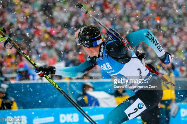 Quentin Fillon Maillet of France takes 1st place during the IBU Biathlon World Cup Men's 4 x 7.5 km Relay Competition on January 18, 2020 in...