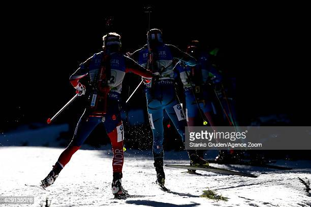 Quentin Fillon Maillet of France takes 1st place during the IBU Biathlon World Cup Men's and Women's Relay on December 11 2016 in Pokljuka Slovenia
