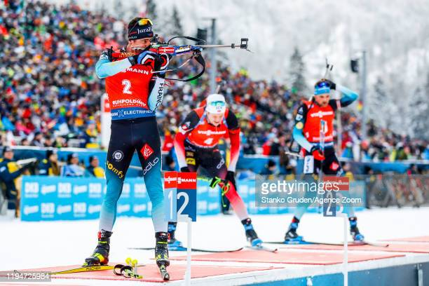Quentin Fillon Maillet of France takes 2nd place during the IBU Biathlon World Cup Men's 12.5 km Pursuit Competition on January 19, 2020 in...