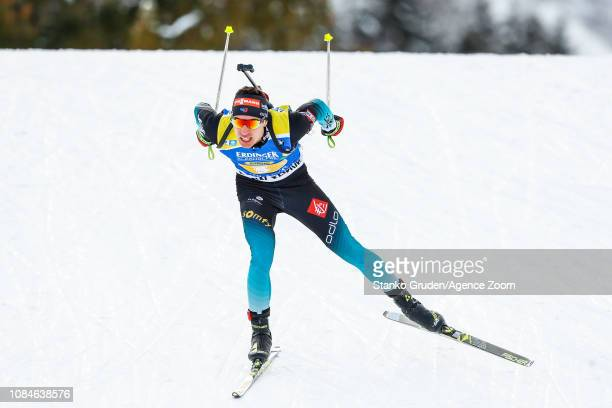 Quentin Fillon Maillet of France takes 3rd place during the IBU Biathlon World Cup Men's Relay on January 18, 2019 in Ruhpolding, Germany.