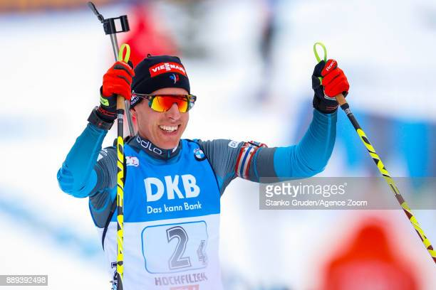 Quentin Fillon Maillet of France takes 3rd place during the IBU Biathlon World Cup Men's and Women's Relay on December 10 2017 in Hochfilzen Austria