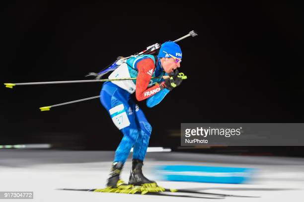 Quentin Fillon Maillet of France at Mens 10 kilometre sprint Biathlon at olympics at Alpensia biathlon stadium Pyeongchang South Korea on February 11...