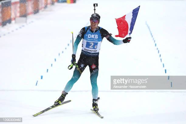 Quentin Fillon Maillett of France celebrates at the finish area winning the Men 4x7.5 km Relay Competition at the BMW IBU World Cup Biathlon...