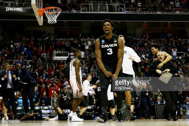 Quentin Goodin of the Xavier Musketeers celebrates their 73 to 71 win over the Arizona Wildcats during the 2017 NCAA Men's Basketball Tournament West...
