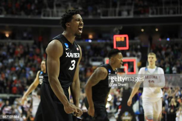 Quentin Goodin of the Xavier Musketeers celebvrates their 73 to 71 win over the Arizona Wildcats during the 2017 NCAA Men's Basketball Tournament...