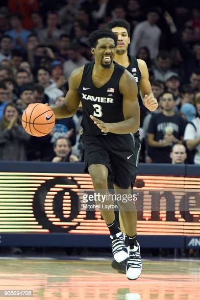 Quentin Goodin of the Xavier Musketeers dribbles up court during a college basketball game against the Villanova Wildcats at Wells Fargo Arena on...