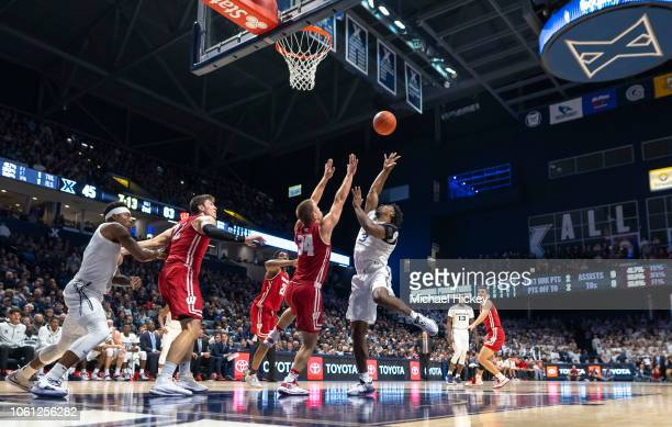 Quentin Goodin of the Xavier Musketeers shoots the ball against Brad Davison of the Wisconsin Badgers at Cintas Center on November 13 2018 in...