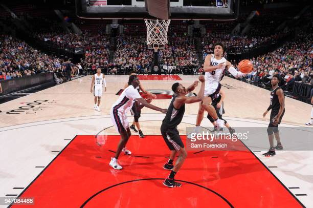 Quentin Grimes of Team USA drives to the basket against Team World during the Nike Hoop Summit on April 13 2018 at the MODA Center Arena in Portland...