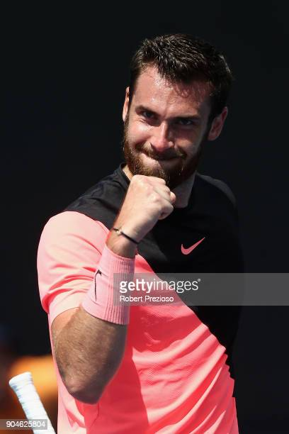 Quentin Halys of France celebrates a win as he competes in his third round match against Bjorn Fratangelo of United States during 2018 Australian...
