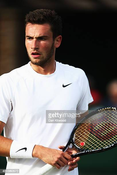 Quentin Halys of France during his Boy's Singles first round match against Petros Chrysochos of Cyprus on day six of the Wimbledon Lawn Tennis...