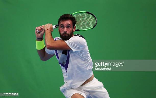 Quentin Halys of France is seen in action during his third round match with Arthur Rinderknech of France on day three of The Murray Trophy at...