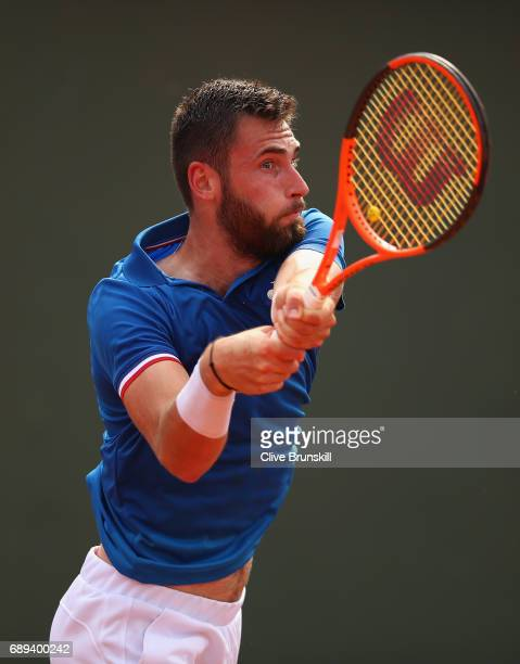 Quentin Halys of France looks on during the mens singles first round match against Marco Trungelitti of Argentina on day one of the 2017 French Open...
