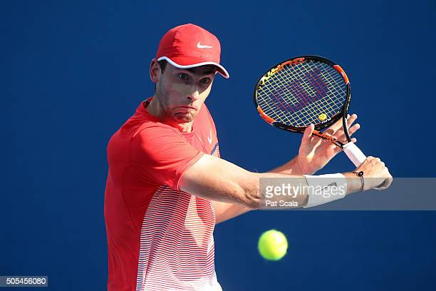 Quentin Halys of France plays a backhand in his first round match against Ivan Dodig of Crotatia during day one of the 2016 Australian Open at...