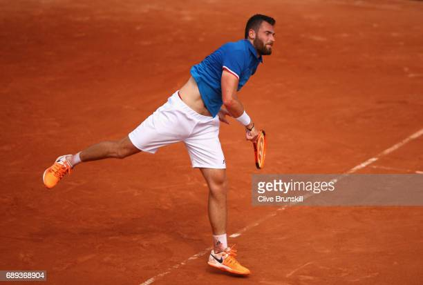 Quentin Halys of France plays a forehand during the mens singles first round match against Marco Trungelliti of Argentina on day one of the 2017...