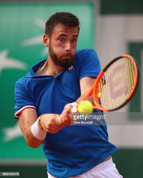 Quentin Halys of France plays a forehand during the mens singles first round match against Marco Trungelitti of Argentina on day one of the 2017...