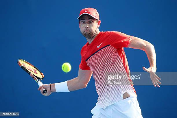 Quentin Halys of France plays a forehand in his first round match against Ivan Dodig of Crotatia during day one of the 2016 Australian Open at...