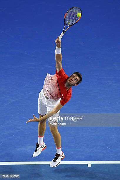 Quentin Halys of France serves in his second round match against Novak Djokovic of Serbia during day three of the 2016 Australian Open at Melbourne...