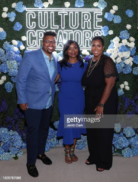 Quentin James, Joi Brown and Stefanie Brown James attend the Culture Creators Innovators & Leaders Awards at The Beverly Hilton on June 26, 2021 in...