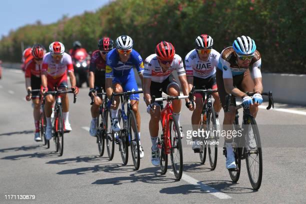 Quentin Jauregui of France and Team AG2R La Mondiale / Gianluca Brambilla of Italy and Team Trek-Segafredo / Sergio Luis Henao Montoya of Colombia...
