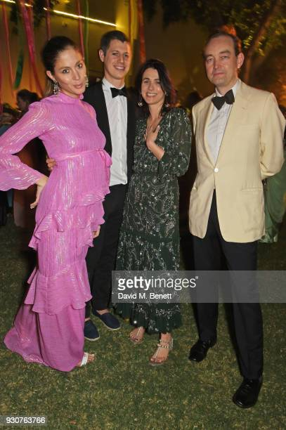 Quentin Jones George Northcott Emily Sheffield and Tom Mullion attend the Holi Saloni celebrations in the RAAS Devigarh on March 9 2018 in Udaipur...