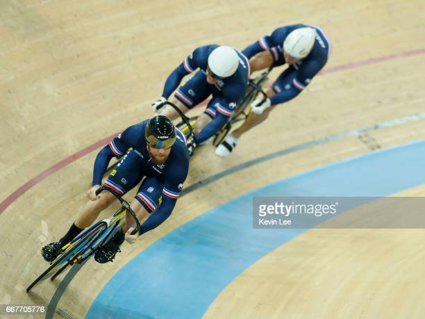 Quentin Lafargue Benjamin Edelin and Sebastien Vigier of France compete for the Bronze medal during the Men's Team Sprint Final on day one of the...
