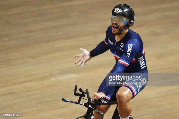 Quentin Lafargue of France celebrates after winning the gold medal in the Mens 1 km time trial on day three of the UCI Track Cycling World...