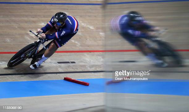 Quentin Lafargue of France on his way to winning the gold medal in the Mens 1 km time trial on day three of the UCI Track Cycling World Championships...